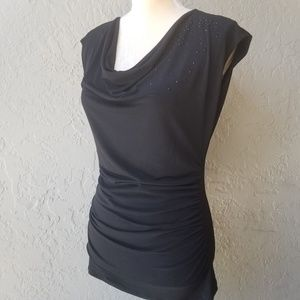 The Limited Cowl Neck top w/ rhinestone & ruching